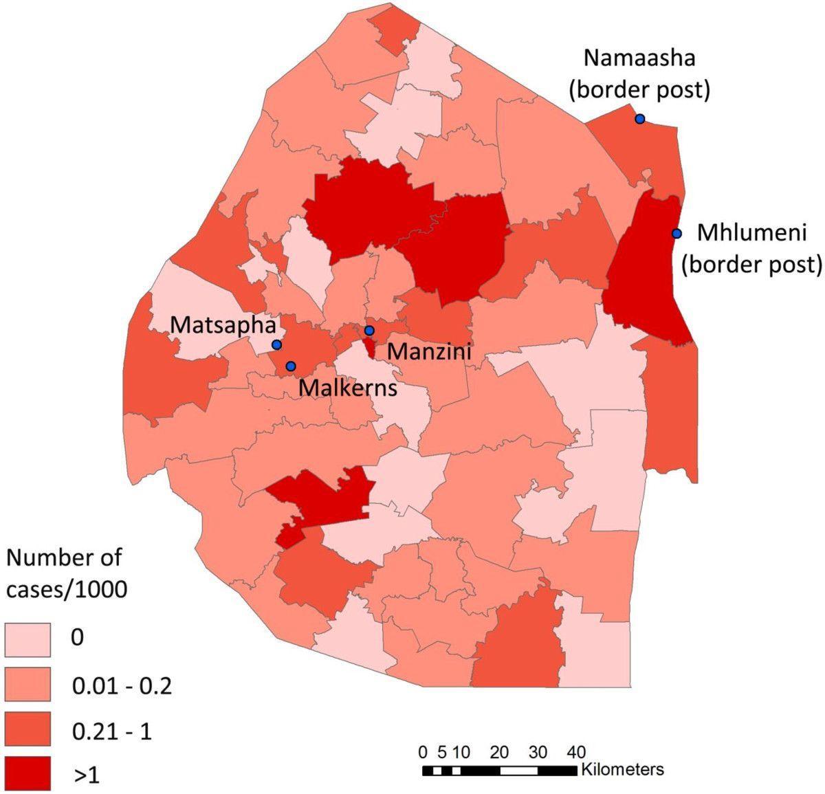 Swazimaa Malaria Kartta Kartta Swazimaa Malaria Etela Afrikka